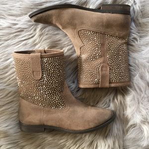 [Naughty Monkey] Sparkle studded suede booties 6.5